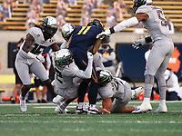 Dec 5, 2020; Berkeley, California, USA; Oregon Ducks defense tackle California Golden Bears wide receiver Kekoa Crawford (11) during the first quarter at California Memorial Stadium. Mandatory Credit: Kelley L Cox-USA TODAY Sports