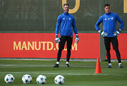 David De Gea and Joel Pereira of Manchester United - Mandatory by-line: Matt McNulty/JMP - 11/09/2017 - FOOTBALL - AON Training Complex - Manchester, England - Manchester United v FC Basel - Press Conference & Training - UEFA Champions League - Group A