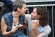 Francesca Martinez speaking to Russell Brand backstage at the People's Assembly Against Austerity 'End Austerity Now' demonstration attended by over 250,000 people on Saturday 20th of June 2015 sending a clear message to the Tory government; demanding an alternative to austerity and to policies that only benefit those at the top. London, UK.
