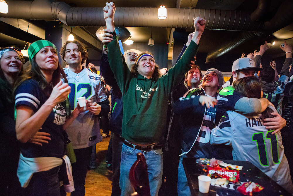 The city of Seattle, WA erupts after the Seahawks win Super Bowl XLVIII.
