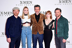 Michael Fassbender (left to right), Sophie Turner, Simon Kinberg, Jessica Chastain, James McAvoy attending the X-Men: Dark Phoenix photocall held at Picturehouse Central, London.