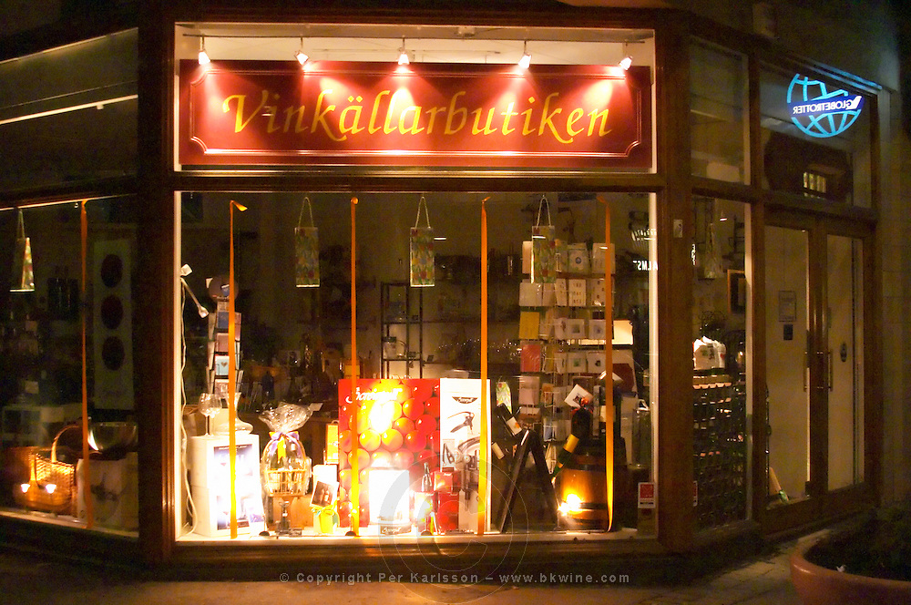 The shop window of the Vinkallarbutiken the Wine Cellar Shop Stockholm, Sweden, Sverige, Europe