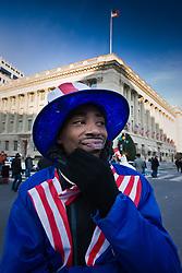 Man dressed as Uncle Sam at Presidential Inauguration of Barack Obama, Washington D.C., USA.