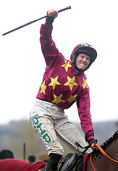 Rachael Blackmore celebrates victory at the Albert Bartlett Novices' Hurdle during Gold Cup Day of the 2019 Cheltenham Festival at Cheltenham Racecourse.