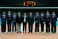 25-08-2010 VOLLEYBAL: WGP FINAL CHINA - ITALY: BEILUN NINGBO<br /> Italy swept past China in straight sets in their opening match / Referees and FiVB Control Committee Mr. Takashi Shimoyama, Ms. Gabrielle van Zwieten and Mr. Hassan Mohamed<br /> ©2010-WWW.FOTOHOOGENDOORN.NL