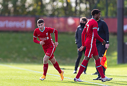 KIRKBY, ENGLAND - Saturday, October 31, 2020: Liverpool's substitute Mateusz Musialowski replaces James Balagizi (R) during the Under-18 Premier League match between Liverpool FC Under-18's and Newcastle United FC Under-18's at the Liverpool Academy. Liverpool won 4-1. (Pic by David Rawcliffe/Propaganda)