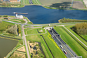Nederland, Noord-Holland, Gemeente Velsen, 09-04-2014; Wijkertunnel met Noordzeekanaal.<br /> Tunnel near Beverwijk and IJmuiden, crossing Northsea channel.<br /> luchtfoto (toeslag op standard tarieven);<br /> aerial photo (additional fee required);<br /> copyright foto/photo Siebe Swart
