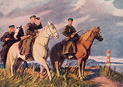 Postcard from Russian soldiers on horseback, circa 1943
