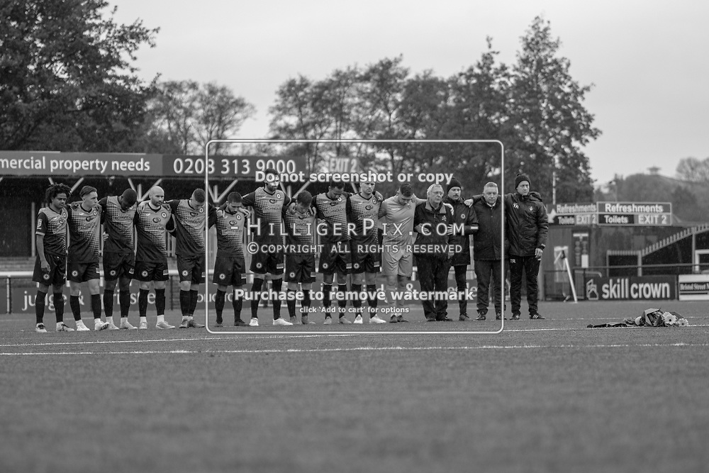 BROMLEY, UK - NOVEMBER 09: Cray Wanderers observe a minutes silence before the BetVictor Isthmian Premier League match between Cray Wanderers and Cheshunt at Hayes Lane on November 9, 2019 in Bromley, UK. <br /> (Photo: Jon Hilliger)