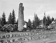 Y-501108-05.  Battle Axe Inn ruins after fire, Government Camp, Mt. Hood, November 8, 1950. (The fire that destroyed the inn happened the day before, November 7, 1950.)