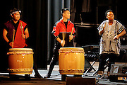 Japanese Taiko Drummers Bryce Bergano, left and Koji Sato of Kaze Daiko accompany a vocal piece by music director Meshell Ndegeocello, right, during a rehearsal for More Music @ The Moore. <br />