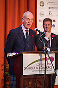 Jack Clark, Convenor of SBCC, announcing the candidates for the 2015 Scottish Border Business Award for Agricultural Supplier of the Year.<br /> <br /> The 2015 Scottish Border Buisness Awards, held at Springwood Hall, Kelso. The awards were run by the Scottish Borders Chambers of Commerce, with guest speaker Keith Brown, MSP. The SBCC chairman Jack Clark and the presenter Fiona Armstrong co hosted the event.