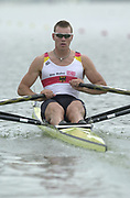 Seville, Andulucia, SPAIN<br /> <br /> 2002 World Rowing Championships - Seville - Spain Sunday 15/09/2002.<br /> <br /> Rio Guadalquiver Rowing course<br /> <br /> GER M1X Marcel Hacker<br /> <br /> [Mandatory Credit:Peter SPURRIER/Intersport Images]