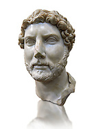 Roman portrait bust of Emperor Hadrian, 117-138 AD excavated from the S. Barbiana region near the Station Terminus, Rome. Hadrian ( Publius Aelius Hadrianus Augustus) was Roman Emperor from 117 to 138. An enthusiastic  builder Hadrian rebuilt the Pantheon and constructed the Temple of Venus and Roma as well as building Hadrian's Wall, which marked the northern limit of Roman Britain. His villa at Tivoli also showed Hadrian passion for water and Roman baths. Hadrian was regarded by some as a humanist and was philhellene in most of his tastes. He is regarded as one of the Five Good Emperors. The great love of his life was Antinous who died tragically and suspiciously when he drowned in the Nile.  The National Roman Museum, Rome, Italy .<br /> <br /> If you prefer to buy from our ALAMY PHOTO LIBRARY  Collection visit : https://www.alamy.com/portfolio/paul-williams-funkystock/roman-museum-rome-sculpture.html<br /> <br /> Visit our ROMAN ART & HISTORIC SITES PHOTO COLLECTIONS for more photos to download or buy as wall art prints https://funkystock.photoshelter.com/gallery-collection/The-Romans-Art-Artefacts-Antiquities-Historic-Sites-Pictures-Images/C0000r2uLJJo9_s0