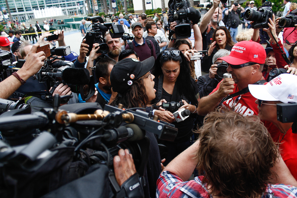 Anti-Trump protestor and Trump suporter yelling at each other, on May 25, 2016 in Anaheim, California.