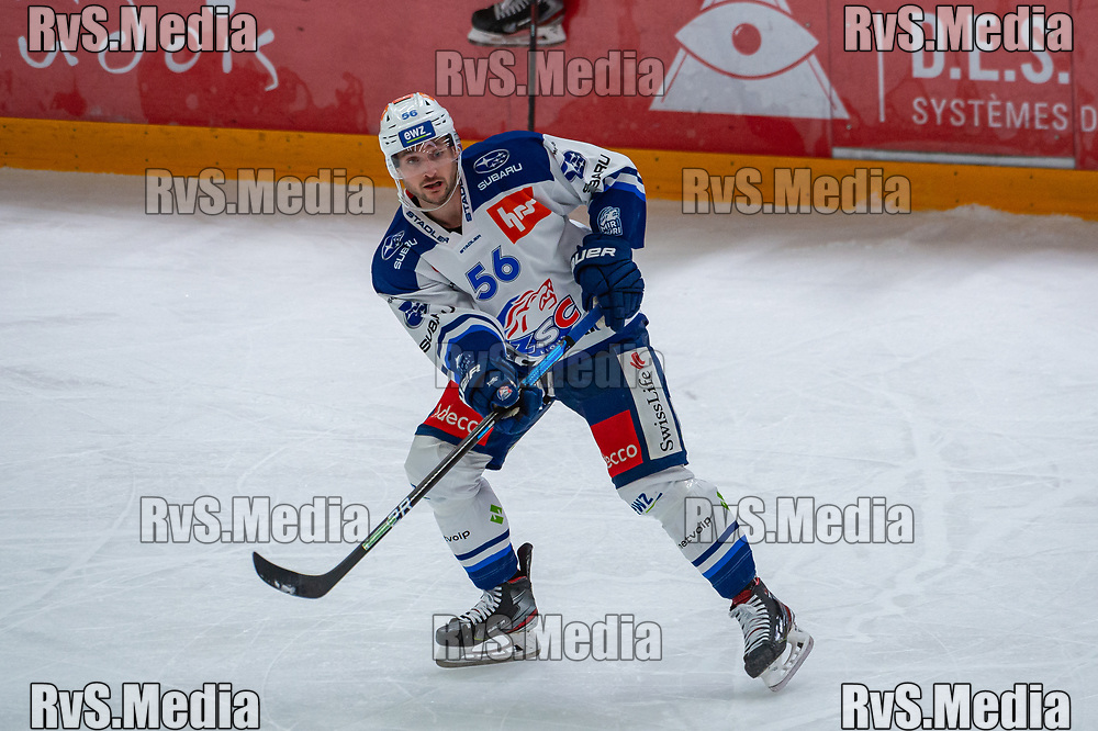 LAUSANNE, SWITZERLAND - OCTOBER 01: Maxim Noreau #56 of ZSC Lions in action during the Swiss National League game between Lausanne HC and ZSC Lions at Vaudoise Arena on October 1, 2021 in Lausanne, Switzerland. (Photo by Robert Hradil/RvS.Media)