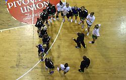 Players of Olimpija with their coach Robert Begus after  handball game between women team RK Olimpija vs ZRK Brezice at 1st round of National Championship, on September 13, 2008, in Arena Tivoli, Ljubljana, Slovenija. Olimpija won 41:17. (Photo by Vid Ponikvar / Sportal Images)