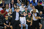 Golden State Warriors head coach Steve Kerr talks with referee Tre Maddox (73) during a NBA game between the Golden State Warriors and the Milwaukee Bucks at Oracle Arena in Oakland, Calif., on March 29, 2018. (Stan Olszewski/Special to S.F. Examiner)