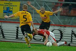 09-05-2007 VOETBAL: PLAY OFF: UTRECHT - RODA: UTRECHT<br /> In de play-off-confrontatie tussen FC Utrecht en Roda JC om een plek in de UEFA Cup is nog niets beslist. De eerste wedstrijd tussen beide in Utrecht eindigde in 0-0 / Hans Somers en Bas Sibum<br /> ©2007-WWW.FOTOHOOGENDOORN.NL