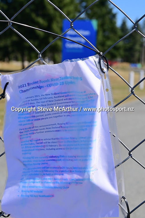 The regatta course lock-out <br /><br />2021 Rocket Foods New Zealand National Club Championships, on Lake Ruataniwha, <br />Twizel, New Zealand. Wednesday  17 February 2021.  Copyright photo © Steve McArthur / www.photosport.nz