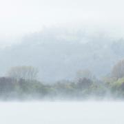 Mist on Lac Chambon, Auvergne, Frane
