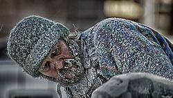 Beard Frozen Over, Chiseling Away on the Ice Blocks