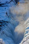 Gullfoss watefall in winter in Iceland