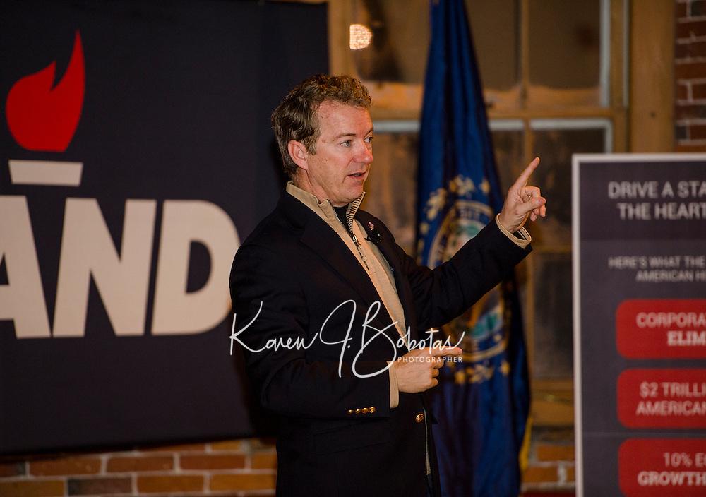 US Senator Rand Paul speaking at the Belknap Mill in Laconia.  Karen Bobotas for the Laconia Daily Sun