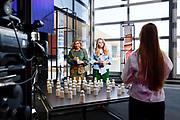 EINDHOVEN, 27-04-2021, High Tech Campus<br /> <br /> Koningin Maxima en prinses Amalia tijdens Koningsdag 2021 op de High Tech Campus in Eindhoven Foto: Brunopress/POOL/Koen van Weel<br /> <br /> Queen Maxima during King's Day 2021 at Eindhoven