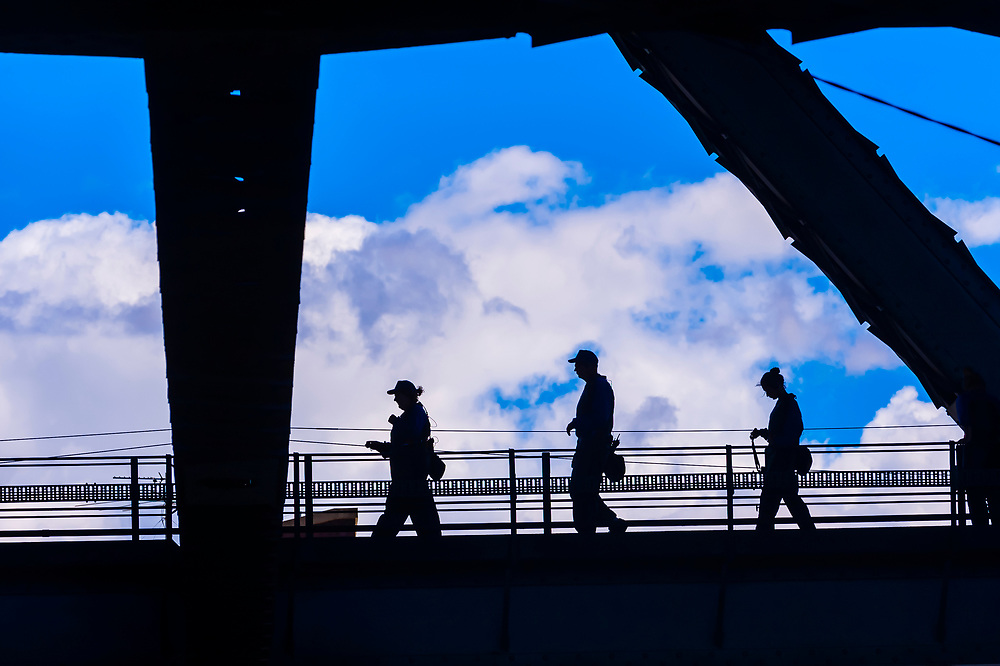People doing the Bridge Climb, Sydney Harbour Bridge, Sydney, New South Wales, Australia
