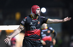 Dragons' Cory Hill in action tonight<br /> <br /> Photographer Mike Jones/Replay Images<br /> <br /> Guinness PRO14 Round Round 18 - Dragons v Cheetahs - Friday 23rd March 2018 - Rodney Parade - Newport<br /> <br /> World Copyright © Replay Images . All rights reserved. info@replayimages.co.uk - http://replayimages.co.uk