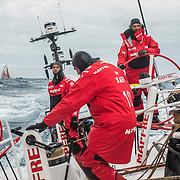Leg 3, Cape Town to Melbourne, day 09, Dongfeng crosses behind MAPFRE in a battle for the lead into Melbourne. Photo by Jen Edney/Volvo Ocean Race. 18 December, 2017.