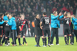 23.11.2011, BayArena, Leverkusen, Germany, UEFA CL, Gruppe E, Bayer 04 Leverkusen (GER) vs Chelsea FC (ENG), im Bild Robin Dutt (Trainer Leverkusen) bedankt sich bei Eren Derdiyok (Leverkusen #19) // during the football match of UEFA Champions league, group E, between Bayer Leverkusen (GER) and FC Chelsea (ENG) at BayArena, Leverkusen, Germany on 2011/11/23.EXPA Pictures © 2011, PhotoCredit: EXPA/ nph/ Mueller..***** ATTENTION - OUT OF GER, CRO *****