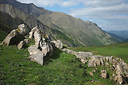 View of Mount Valier from the east near Col de Pause, Ariege, Midi-Pyrenees, France.