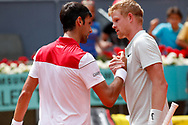 Kyle Edmund of Great Britain celebrates the victory against Novak Djokovic of Serbia during the Mutua Madrid Open 2018, tennis match on May 9, 2018 played at Caja Magica in Madrid, Spain - Photo Oscar J Barroso / SpainProSportsImages / DPPI / ProSportsImages / DPPI