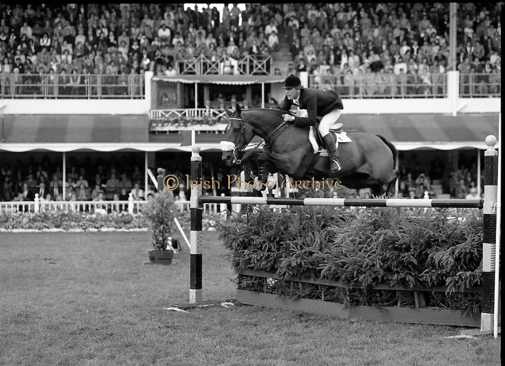 Aga Khan Trophy..1979..10.08.1979..08.10.1979..10th August 1979..The annual staging of the Aga Khan Cup took place  at the Royal Dublin Showgrounds, Ballsbridge,Dublin today.It was the first time since 1937 that Ireland won the trophy outright. The winning Irish team comprised of Paul Darragh,Capt Con Power,James Kernan and Eddie Macken..Eddie Macken is pictured aboard 'Boomerang' clearing a fence on the way to Ireland's First outright win since 1937.