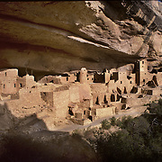 Spectacular Cliff Palace, largest of the ancient dwellings in Mesa Verde National Park, CO.