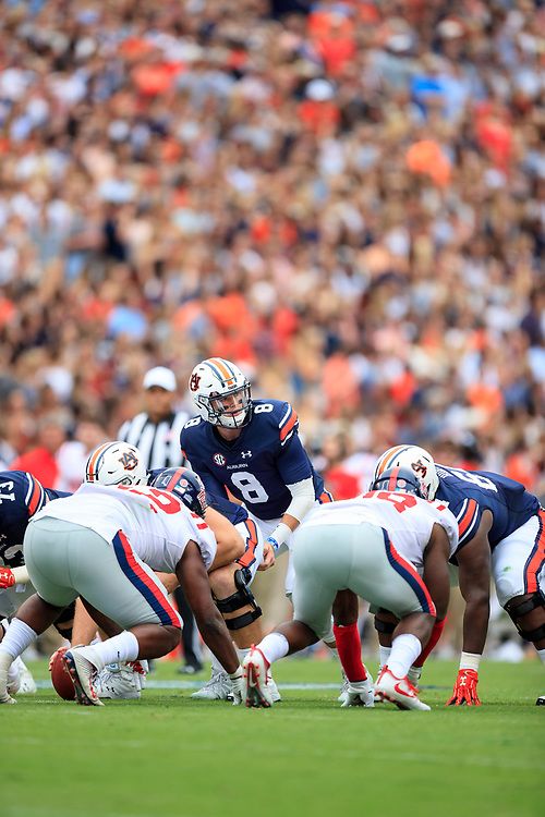 Auburn Tigers quarterback Jarrett Stidham (8) calls the play during an NCAA football game against the Mississippi Rebels, Saturday, October 7, 2017, in Auburn, AL. Auburn won 44-23. (Paul Abell via Abell Images for Chick-fil-A Peach Bowl)
