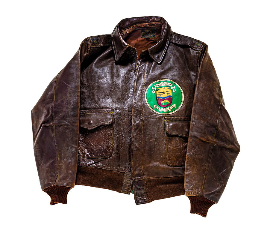 This jacket was owned by Lt. Col. (later Brig. Gen.) Robert W. Waltz, of the 390th Bomb Group. Each bomb represents a mission flown and each swastika is an enemy aircraft shot down. The flour sack and POW symbols are for resupply and evacuation missions at the end of WWII.