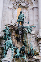 Budapest, Hungary.  Royal Palace on Castle Hill. Matthias Fountain.