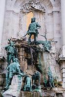 Budapest, Hungary.  Royal Palace on Castle Hill. Matthias Fountain.