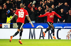 Romelu Lukaku of Manchester United celebrates after scoring his sides second goal - Mandatory by-line: Matt McNulty/JMP - 17/02/2018 - FOOTBALL - The John Smith's Stadium - Huddersfield, England - Huddersfield Town v Manchester United - Emirates FA Cup Fifth Round
