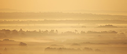 © Licensed to London News Pictures. 28/09/2015. Dorking, UK. Fog covers the landscape south of Box Hill, Surrey as the sun rises.  Photo credit: Peter Macdiarmid/LNP