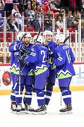 Players of Slovenia celebrate during Ice Hockey match between National Teams of Italy and Slovenia in Round #5 of 2018 IIHF Ice Hockey World Championship Division I Group A, on April 28, 2018 in Arena Laszla Pappa, Budapest, Hungary. Photo by David Balogh / Sportida