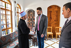 New Druze leader Taymur Jumblatt (or Taymour Joumblatt), center, seen in his palace, in Moukhtara, in the Chouf Mountain, in Lebanon, on April 28, 2018, as he receives his people, a week before general elections that will take place in Lebanon on May 6. Photo par Ammar Abd Rabbo/ABACAPRESS.COM