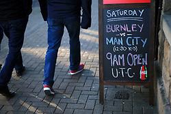26th November 2016 - Premier League - Burnley v Manchester City - A blackboard outside a pub advertises the game - Photo: Simon Stacpoole / Offside.