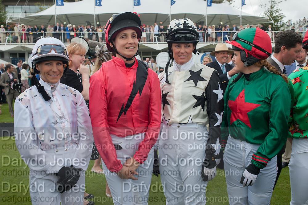 EMMA SPENCER; ROSEMARY FERGUSON; EDIE CAMPBELL; TRISH SIMONON; SARA COX, Ladies Day, Glorious Goodwood. Goodwood. August 2, 2012
