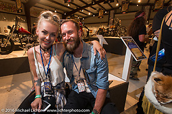 Jason Paul Michaels and Leticia Cline on the Industry party night for Michael Lichter's tattoo themed Skin & Bones Motorcycles as Art exhibition at the Buffalo Chip during the annual Sturgis Black Hills Motorcycle Rally.  SD, USA.  August 7, 2016.  Photography ©2016 Michael Lichter.