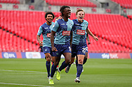 Goal! Wycombe Wanderers defender Anthony Stewart (5) scores a goal and celebrates 0-1during the EFL Sky Bet League 1 Play Off Final match between Oxford United and Wycombe Wanderers at Wembley Stadium, London, England on 13 July 2020.