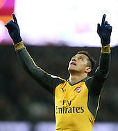 Arsenal's Alexis Sanchez celebrates scoring his sides third goal during the Premier League match at the London Stadium, London. Picture date December 3rd, 2016 Pic David Klein/Sportimage